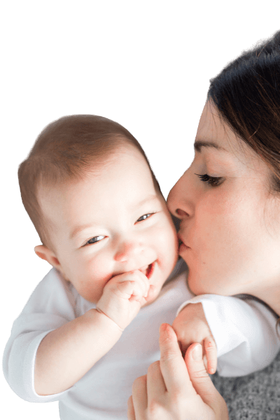 Photo of happy mother and baby after they worked with a baby sleep trainer