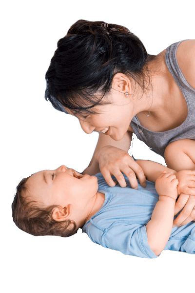 Image of mother playing with toddler, confident after having learned toddler sleep training methods