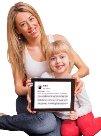 Image of mother and daughter holding a sleep coach review for Sleepably